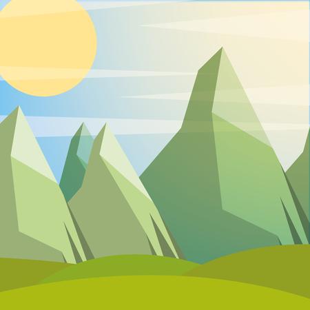 sunny day sunset green rocks mountain vector illustration Иллюстрация