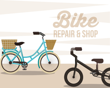 bike repair and shop ride vintage style background vector illustration