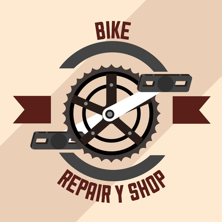 bike is good ribbon sign wheel bicycle repair shop vector illustration