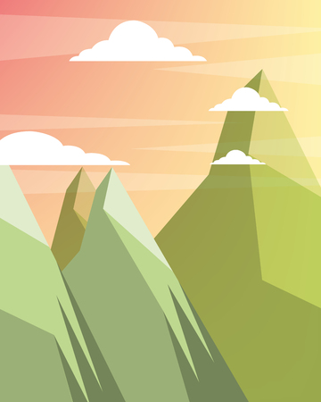 sunset clouds mountains colors vector illustration Иллюстрация