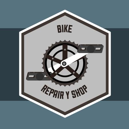 bike repair and shop frame sign wheel vector illustration