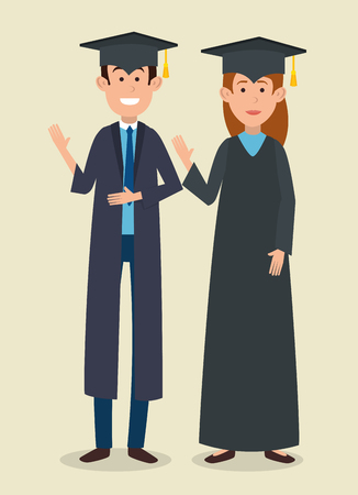 students couple graduation with uniform vector illustration design
