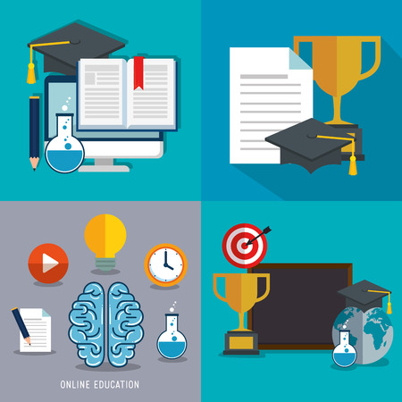 education on line set icons vector illustration design Vector Illustration