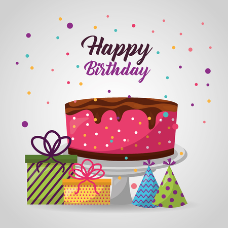 happy birthday confetti celebration cake chocolate gift boxes party hats vector illustration