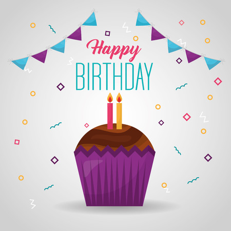 happy birthday pennants cake candles chocolate sign colors vector illustration Illustration