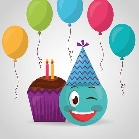 happy birthday emoji stinging the eye balloons cake candles vector illustration