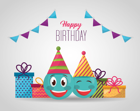 happy birthday pennant sign emojis smiling gift boxes vector illustration