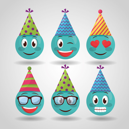 happy birthday emojis making gestures party hats vector illustration