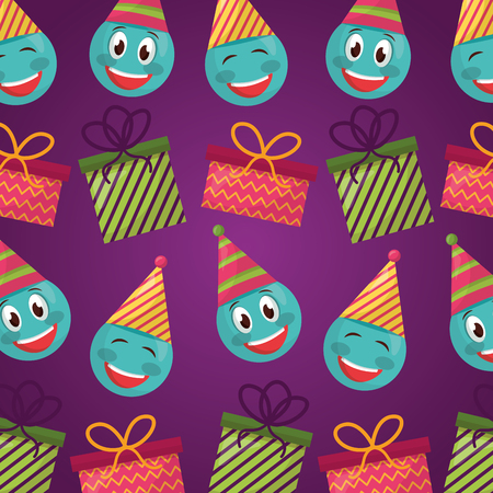 happy birthday cute emojis making gestures party hats gift boxes background vector illustration Illustration