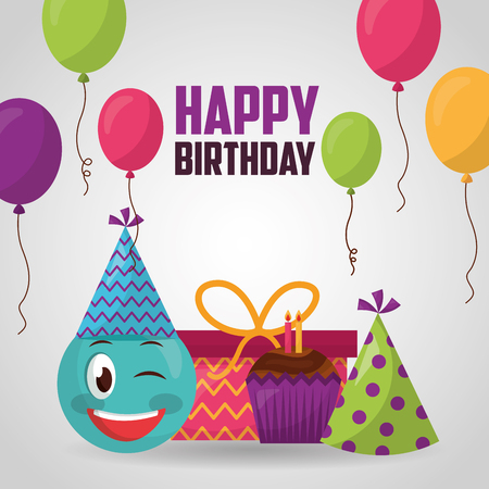 happy birthday emoji stinging the eye colors balloons cake candle gift boxes vector illustration