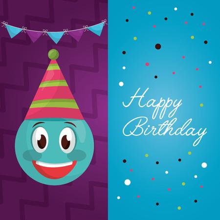 happy birthday labels emoji smiling pennants sign confetti vector illustration Illustration