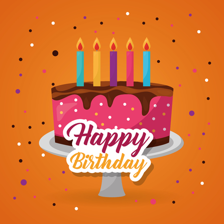 happy birthday cake candles strawberry chocolate confetti vector illustration