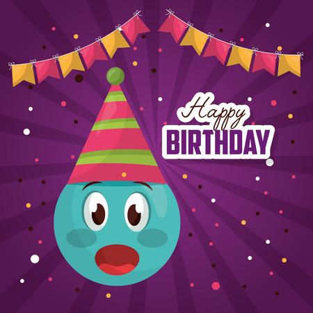 happy birthday surprise emoji party hat pennants confetti vector illustration