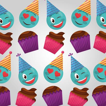 happy birthday cakes flavors emojis making gestures party hats vector illustration Vektorové ilustrace