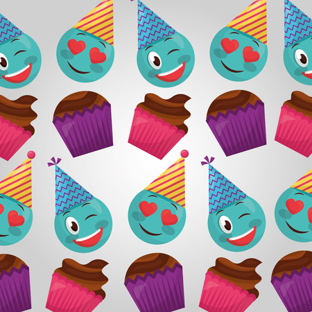 happy birthday cakes flavors emojis making gestures party hats vector illustration