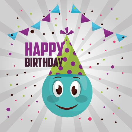 feliz cumpleaños, emoji, sonriente, banderines, confeti, señal, colores, celebración, vector, ilustración Ilustración de vector