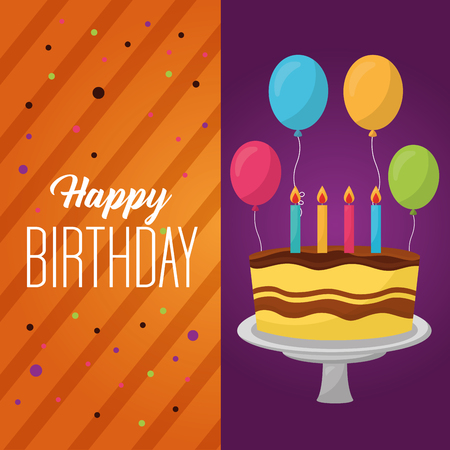 happy birthday labels sign confetti cake candless balloons vector illustration Illustration