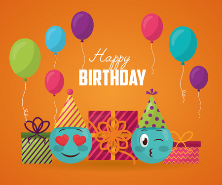 happy birthday balloons emojis stinging the eye love gift boxes vector illustration