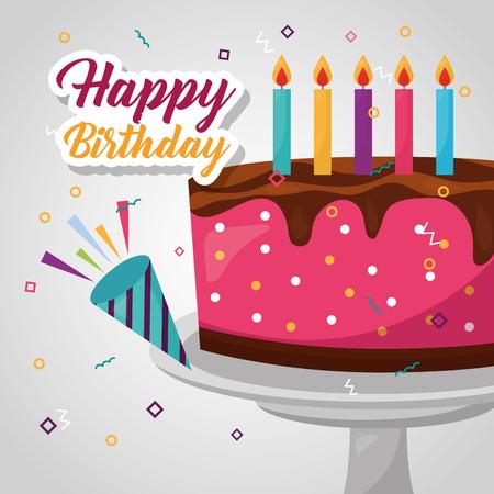 happy birthday confetti rocket cake candless strawberry chocolate vector illustration