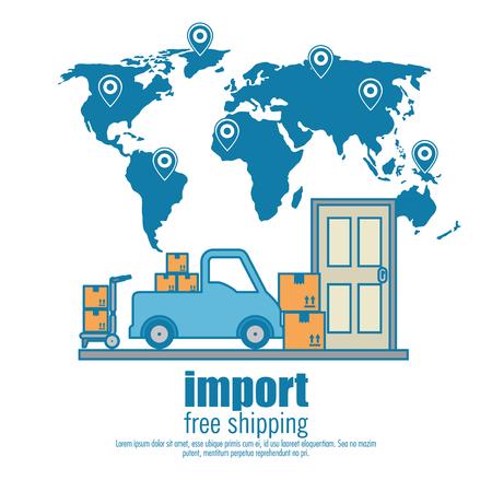 import free shipping set icons vector illustration design