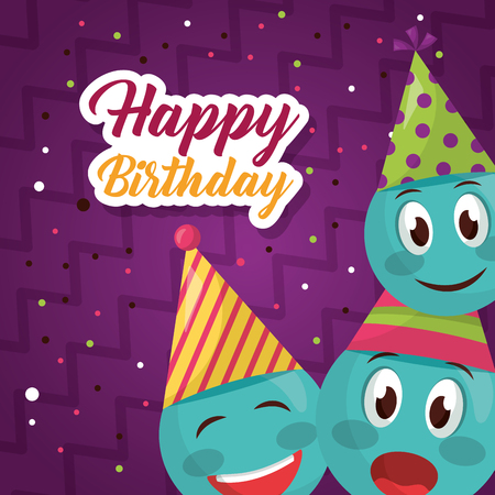 happy birthday emojis making gestures confetti sign vector illustration