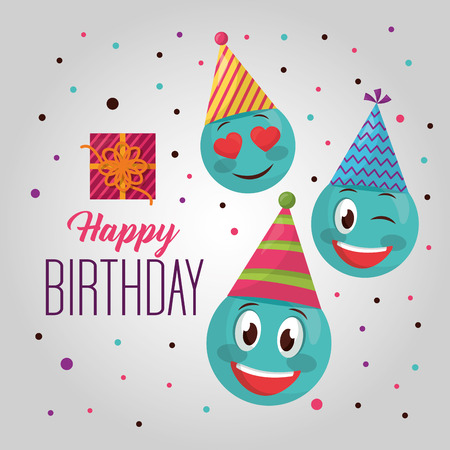 happy birthday emojis party hats confetti sign gift box vector illustration