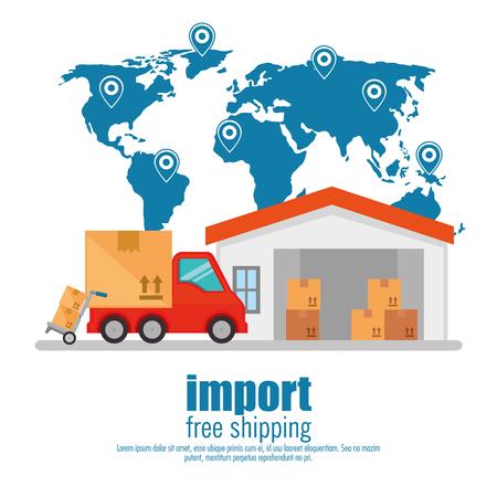 import free shipping set icons vector illustration design Ilustración de vector