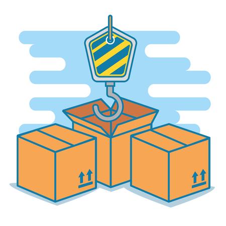 boxes with hook delivery service vector illustration design Illustration