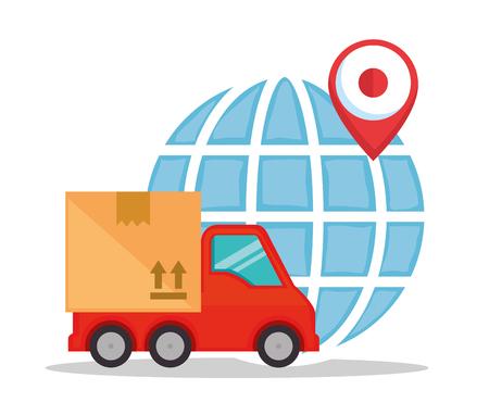 Camión de servicio de entrega con diseño de ilustración de vector de planeta