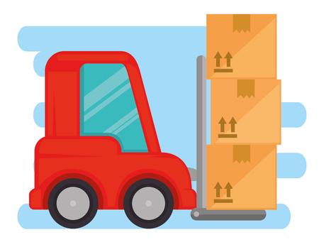 Chariot élévateur de livraison avec des boîtes en carton vector illustration design