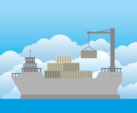 import free shipping maritime vector illustration design Stock Vector - 111976848