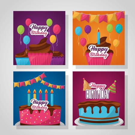 Feliz cumpleaños etiquetas banderines decoración cajas de regalo globos ilustración vectorial