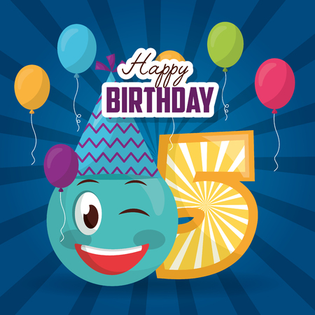 Happy Birthday Emoji Stinging The Eye Number Balloons Sign Vector Illustration Stock