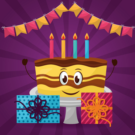 happy birthday cute cake chocolate hands up candless gift boxes pennants vector illustration