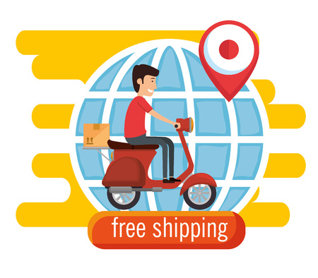 delivery worker in motorcycle vector illustration design Stock Illustratie