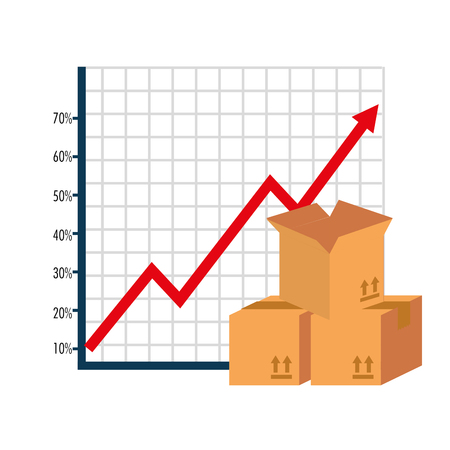 carton boxes with arrow up statistics vector illustration