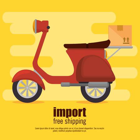 Servicio de entrega de bicicletas scooter, diseño de ilustraciones vectoriales Ilustración de vector