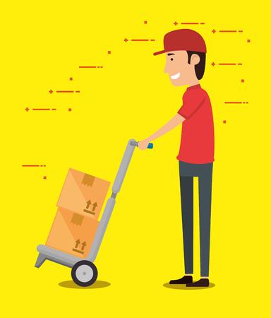 delivery worker with cart boxes vector illustration design Ilustração
