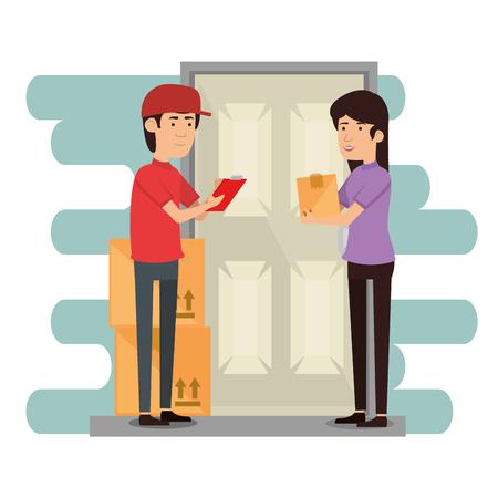 lavoratore di consegna con disegno di illustrazione vettoriale ricevitore Vettoriali