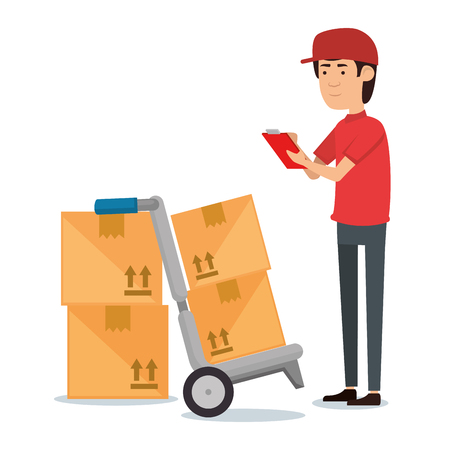 delivery worker with cart boxes vector illustration design Stock Illustratie