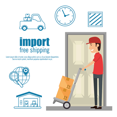 delivery worker with cart boxes vector illustration design Illustration