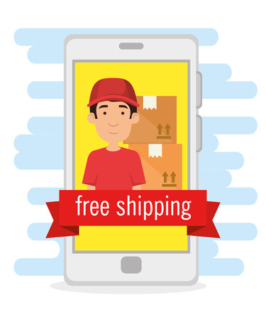 delivery worker in smartphone shipping service vector illustration design Stock Illustratie