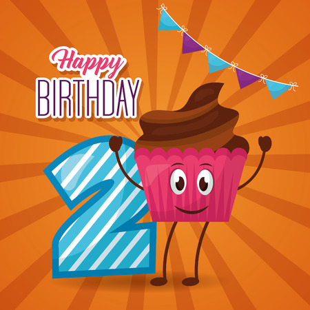 happy birthday pennant cake chocolate number vector illustration
