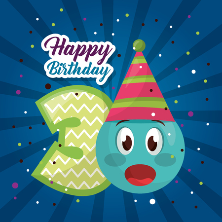 happy birthday emoji surprise number confetti celebration vector illustration