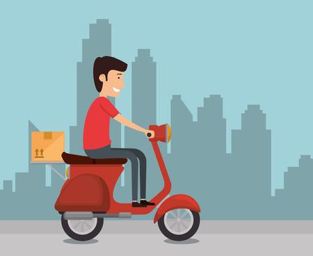 delivery worker in motorcycle vector illustration design Ilustração