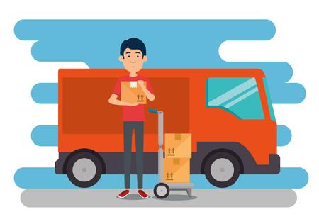 Trabajador de entrega con diseño de ilustración de vector de furgoneta