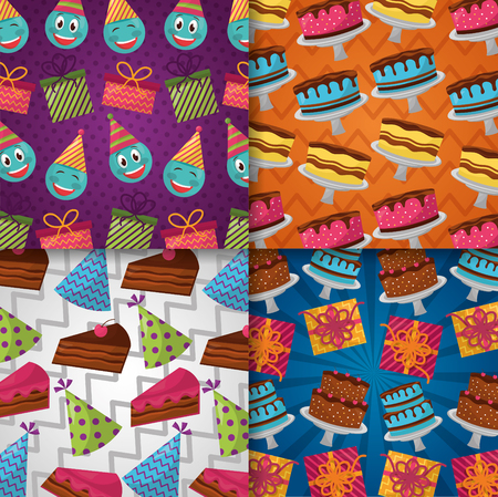 happy birthday label cakes flavors party hats colors emojis making gestures vector illustration Illustration
