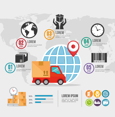 import free shipping infographic vector illustration design