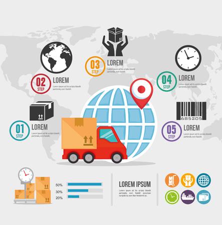 Importar envío gratis infografía diseño de ilustraciones vectoriales
