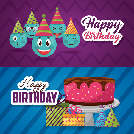 happy birthday labels emojis sign cake gift boxes vector illustration